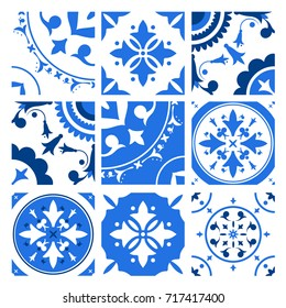 Collection of ceramic tiles with different traditional oriental patterns and antique decorative ornaments in blue and white colors. Vector illustration in vintage azulejo or victorian style.