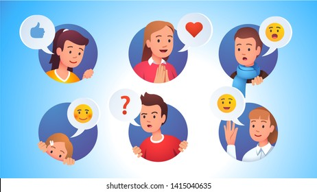 Collection of character faces with various emotions expressions and gestures looking out of rounds. Curious, praying happy, waving hand, peeking and surprised set. Flat vector character illustration