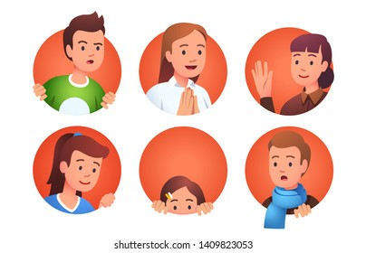 Collection of character faces with various expressions and gestures looking out of rounds. Curious, praying happy, waving hand, peeking and surprised set. Flat style vector character illustration