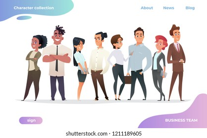 Collection of charming young businessmen and managers. Flat modern cartoon style