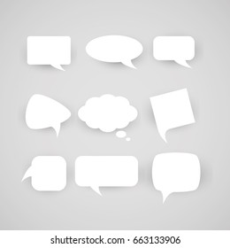 collection of chat bubbles of various shapes on a light background