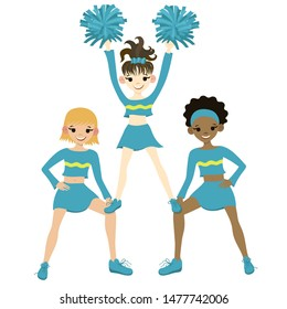Collection of cheerleaders isolated on a white background. Vector graphics.