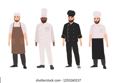 Collection of chefs, qualified cooks, professional restaurant staff or kitchen workers wearing uniform and toque. Set of male cartoon characters isolated on white background. Flat vector illustration.