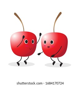 the collection of cherry in the different posing. vector illustration cute cartoon fruit character set on white background