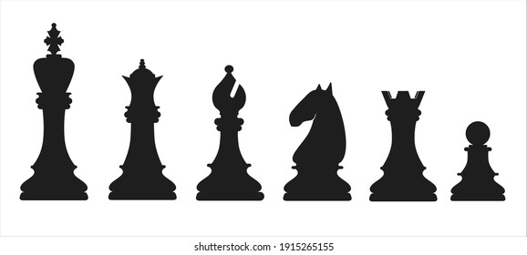 Collection of chess figures. Vector illustration.
