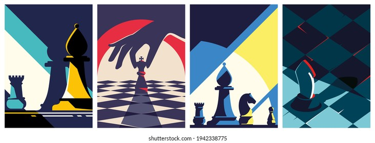 Collection of chess posters. Flyer templates in flat design.