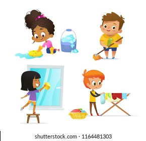 Collection of children doing household routines - mopping floor, washing window, hanging clothes on drying rack. Concept of Montessori engaging educational activities. Cartoon vector illustration