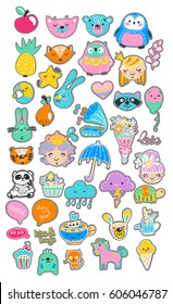 Collection of children doodles, Scandinavian style, simple design, cute animals and children, floral elements, Vector