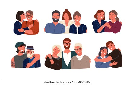 Collection of children or grandchildren with parents and grandparents. Grandfather, grandmother, father, mother and kids standing together. Cute smiling cartoon characters. Flat vector illustration.