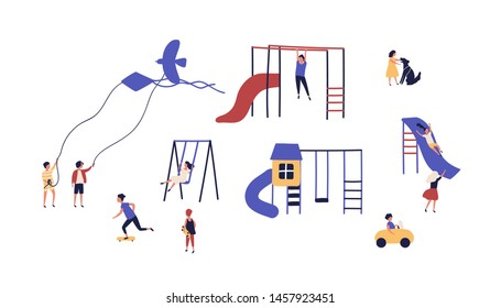 Collection of children playing on playground outdoor isolated on white background. Bundle of playful kids walking with kites, dogs, riding skateboards. Flat cartoon colorful vector illustration.
