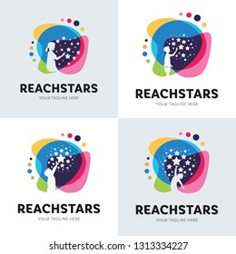 Collection Of Children Reach Star Logo Set Design Template Inspiration