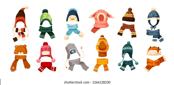 Collection of children s winter knit hats and scarves of various types isolated on white background. Bundle of headgear or head accessories for kids. Vector illustration in flat cartoon style.