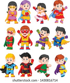 the collection of the children using the superheroes costume