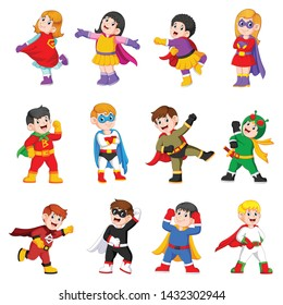 the collection of the children are using the superheroes costume