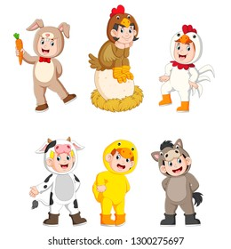 collection children wearing cute farm animal costumes