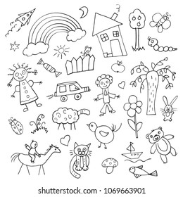 Collection of children's drawings, doodle drawings on a white background