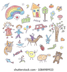 A collection of children's hand drawings on a white background. Funky colored doodles with felt-tip pens