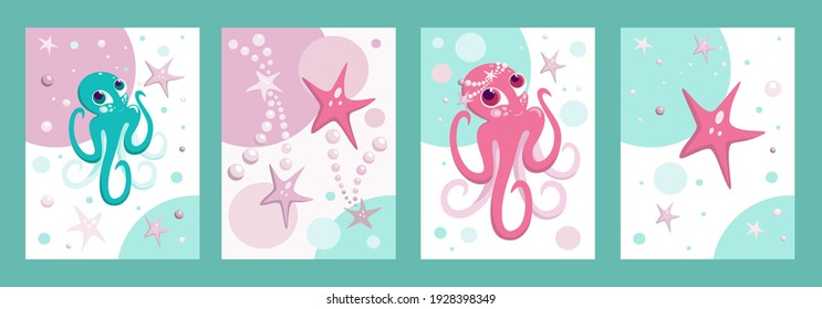 Collection of children's posters, postcards or covers for printed products underwater world of octopuses, starfish, bubbles , pearls. Vector illustration.