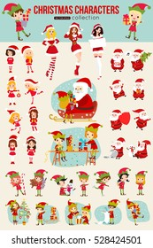 Collection of Christmas cartoon character for holiday design. Vector  illustration.