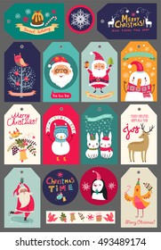 Collection of Christmas characters and decorative elements, vintage frames, labels, stickers New years set