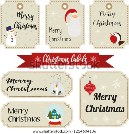collection christmas characters decorative elements vintage stock