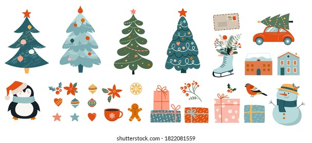 Collection of Christmas decorations, holiday gifts, winter knitted woolen clothes, ginger bread, trees, gifts and penguin. Colorful vector illustration in flat cartoon style