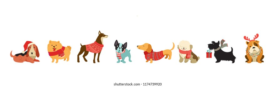 Collection of Christmas dogs, Merry Christmas illustrations of cute pets with accessories like a knited hats, sweaters, scarfs, vector graphic elements