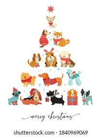 Collection of Christmas dogs, Merry Christmas illustrations of cute pets with accessories like a knitted hats, sweaters, scarfs, vector graphic elements