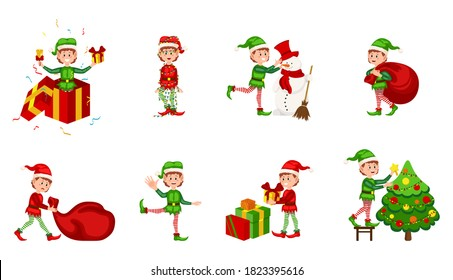 Collection of Christmas elves isolated on white background. Christmas elf in different positions. Santa Claus helpers cartoon, cute dwarf elves fun characters, santas helper