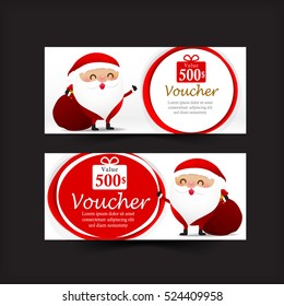 Collection of christmas gift voucher web tag banner promotion vector illustration eps10
