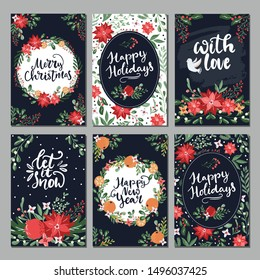Collection of christmas greeting cards with hand lettering and hand drawn winter holiday and christmas elements and floral arrangement in traditional colors