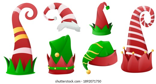 Collection of Christmas hats for elves, Santa Claus helpers. Christmas holiday hat green and red colours, decoration christmas costume. Vector illustration