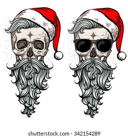 Collection of christmas hipster skulls. .2 in 1.