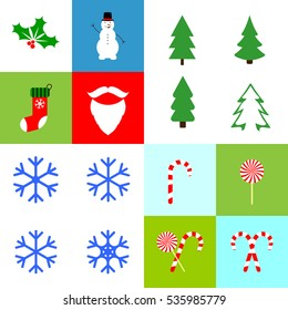 Collection Christmas icons, flat design template, vector illustration