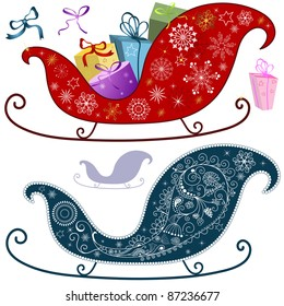 Collection christmas isolated elements for design on white (vector)