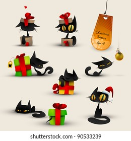 Collection of Christmas Kittens, Cats | EPS10 Vector Set | Layers Organized and Named