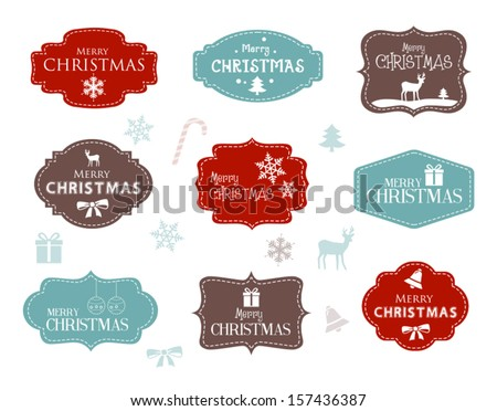 collection christmas labels stock vector royalty free 157436387