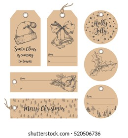 Collection of Christmas, New Year, Noel gift tags, badges, labels template. Set of gift paper tags with hand drawn holidays graphic sketch elements
