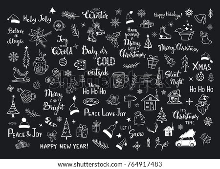 Collection Christmas New Years Decoration Items Stock Vector