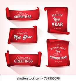 Collection of Christmas Parchment Scroll/ Illustration of a set of christmas and happy new year banners on red parchment scroll, for december and winter holidays