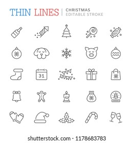 Collection of christmas related line icons. Editable stroke