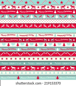 collection of christmas ribbons, red, white and turquoise, vector illustration, eps 10 with transparency