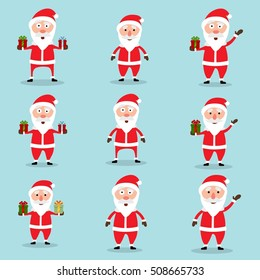Collection of Christmas Santa Claus in flat and cartoon style. Blue sky background. Vector illustration.