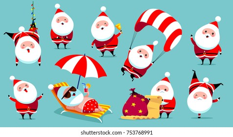Collection of Christmas Santa Claus. Vector illustration in cartoon style.