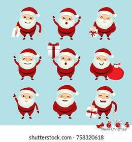 Collection of Christmas Santa Claus. Vector illustration.