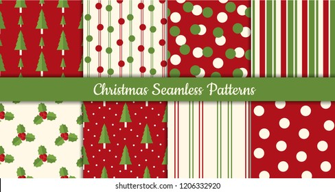 Collection of Christmas Seamless Patterns with trees, holly leaves and berries for greeting cards, wrapping papers etc. with snow.