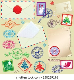 Collection of Christmas stamps, envelops, labels - Christmas and New Year postage set