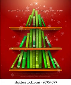 """""""Collection of Christmas Stories"""". Christmas tree formed from books on the bookshelf. Vector Illustration."""