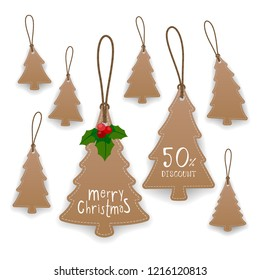 Collection of Christmas tree hanging tags with rope. Kraft paper labels. Vector illustration.