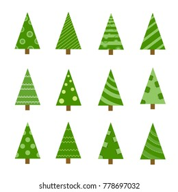 Collection of Christmas trees, modern flat design. Can be used for printed materials - leaflets, posters, business cards or for web. Doodle set for your web design.